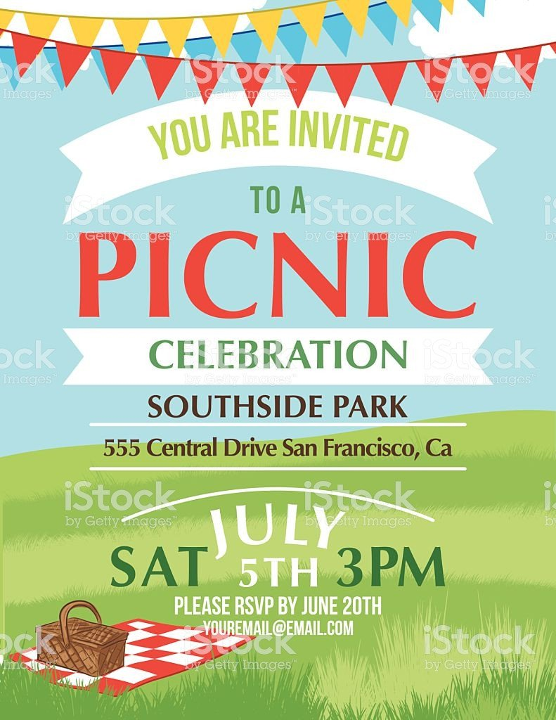 Free Picnic Flyer Template Cartoon Summer Picnic Invitation Template Stock Vector Art