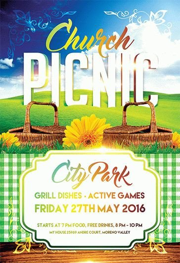 Free Picnic Flyer Template Church Picnic – Flyer Psd Template – by Elegantflyer