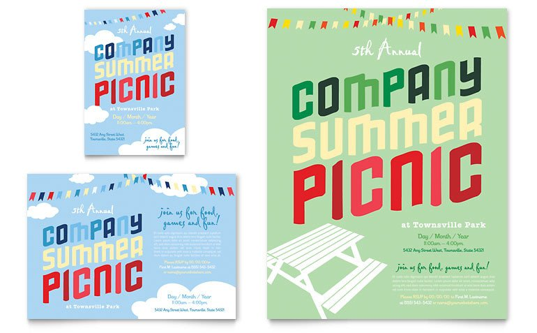 Free Picnic Flyer Template Pany Summer Picnic Flyer & Ad Template Word & Publisher