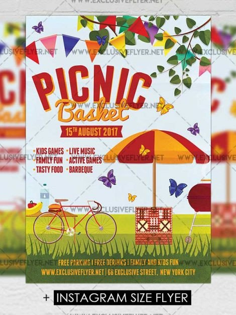 Free Picnic Flyer Template Picnic Basket – Premium A5 Flyer Template
