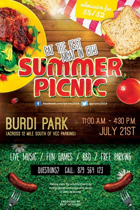 Free Picnic Flyer Template Summer Picnic Free Psd Flyer Template