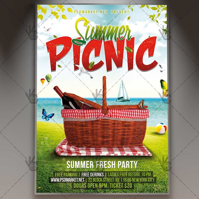 Free Picnic Flyer Template Summer Picnic Premium Flyer Psd Template