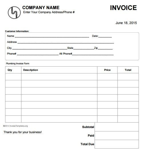 Free Plumbing Invoice Template 15 Best Free Plumbing Invoice Templates Images On