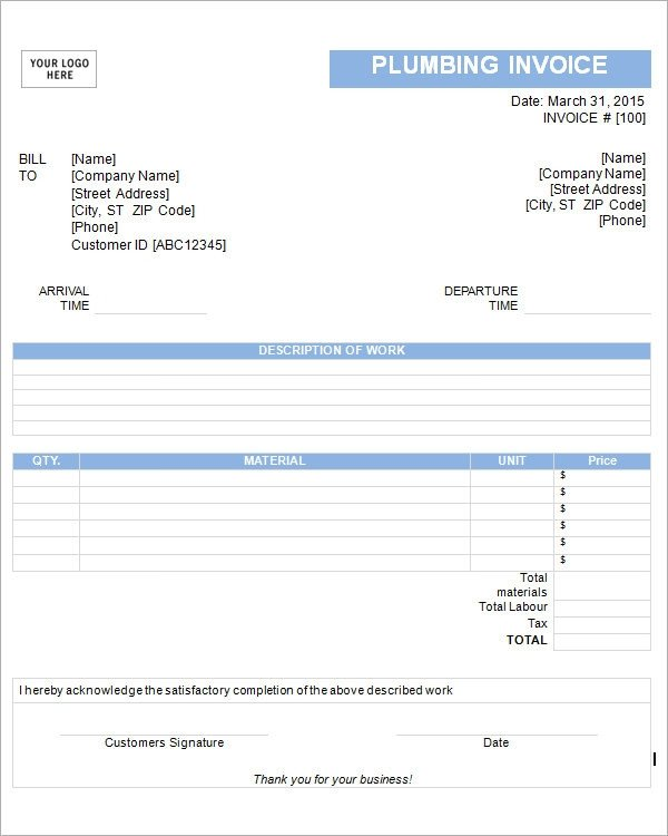Free Plumbing Invoice Template 54 Blank Invoice Template Word Google Docs Google Sheets