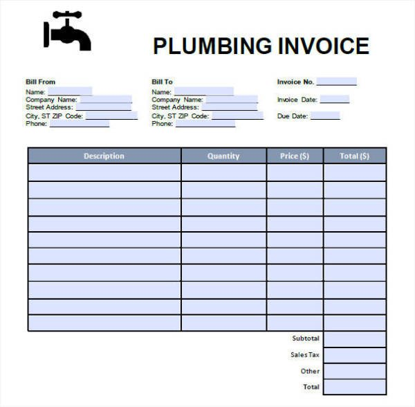 Free Plumbing Invoice Template 8 Plumbing Invoices Free Word Pdf format Download