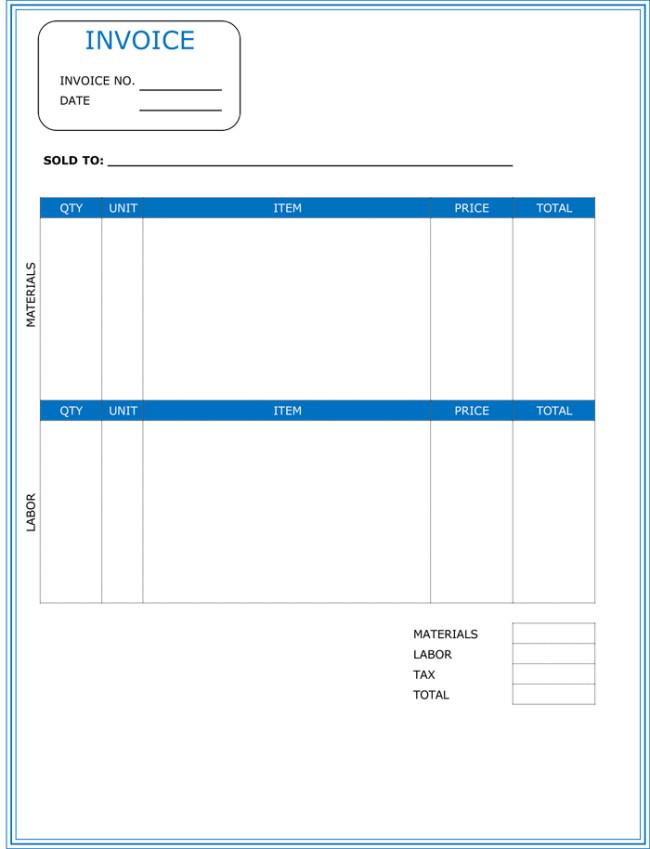Free Plumbing Invoice Template Contractor Invoice Template 6 Printable Contractor Invoices