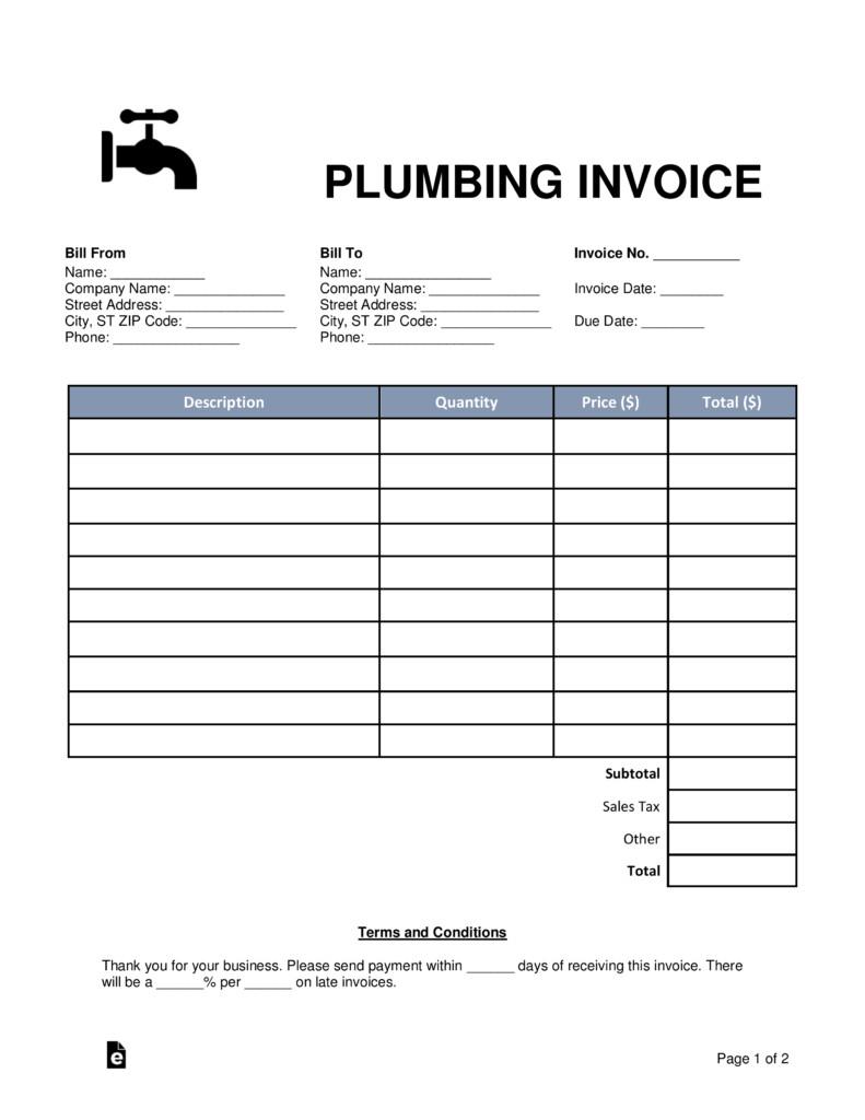 Free Plumbing Invoice Template Free Plumbing Invoice Template Word Pdf