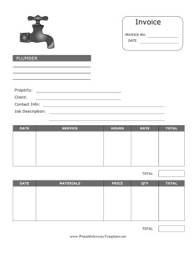 Free Plumbing Invoice Template Plumber Invoice Template