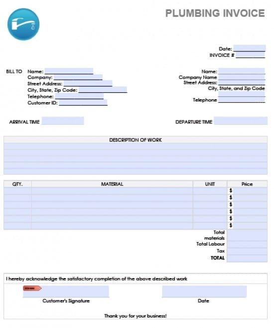 Free Plumbing Invoice Template Plumbers Invoice Template