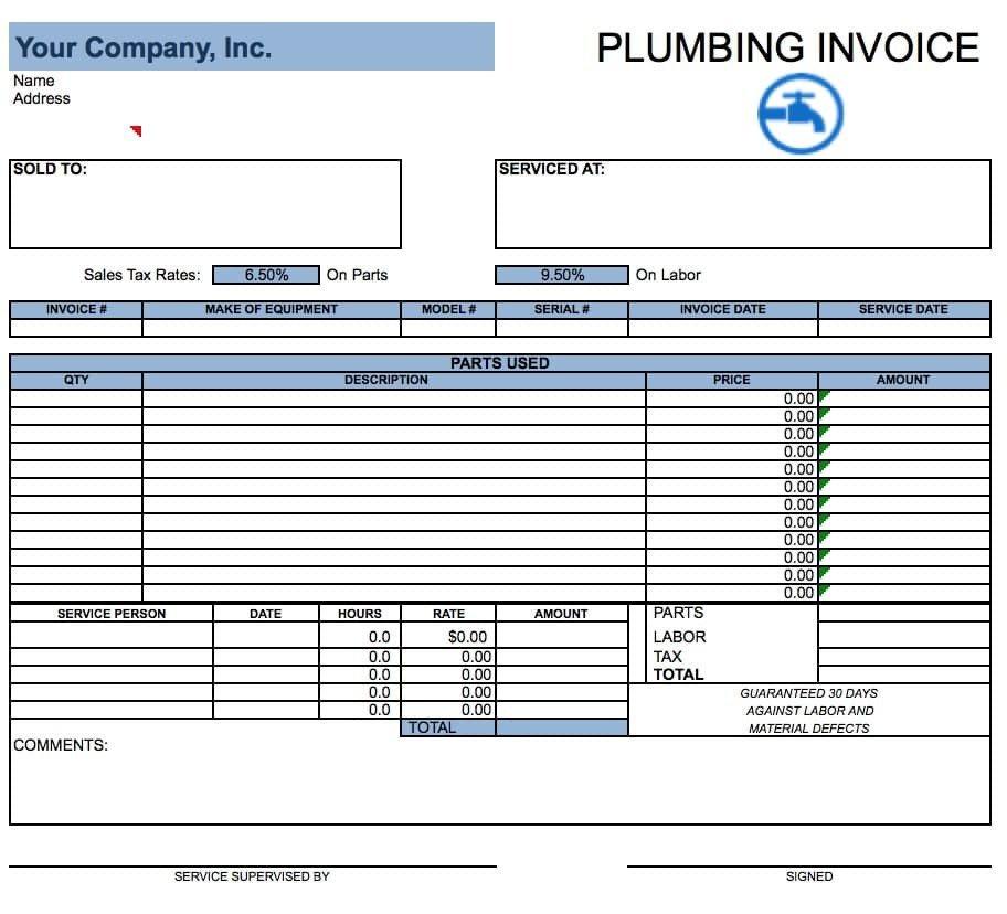 Free Plumbing Invoice Template Plumbing Invoice Sample