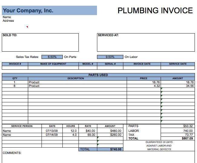 Free Plumbing Invoice Template Plumbing Invoice Template – Free Invoice Templates