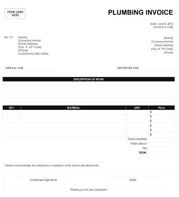 Free Plumbing Invoice Template Plumbing Invoice Template