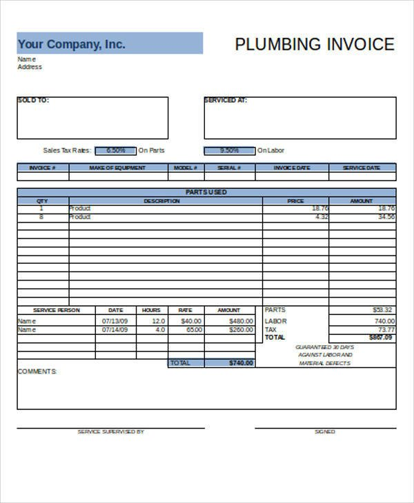 Free Plumbing Invoice Template Sample Plumbing Invoice 7 Examples In Pdf Excel Word