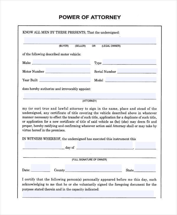 Free Power Of attorney Template 24 Printable Power Of attorney forms