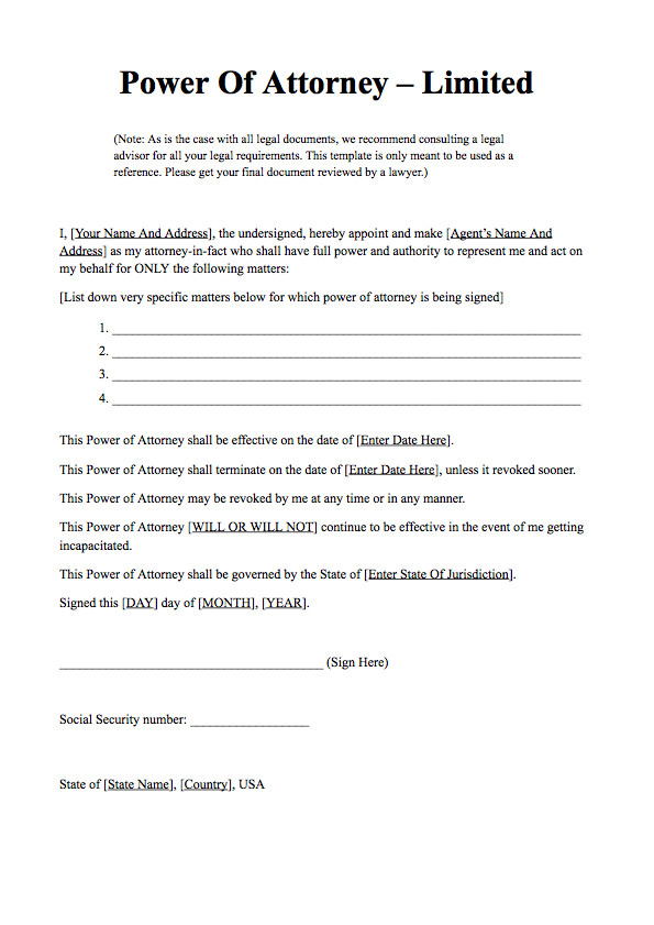 Free Power Of attorney Template Power Of attorney form Free Download