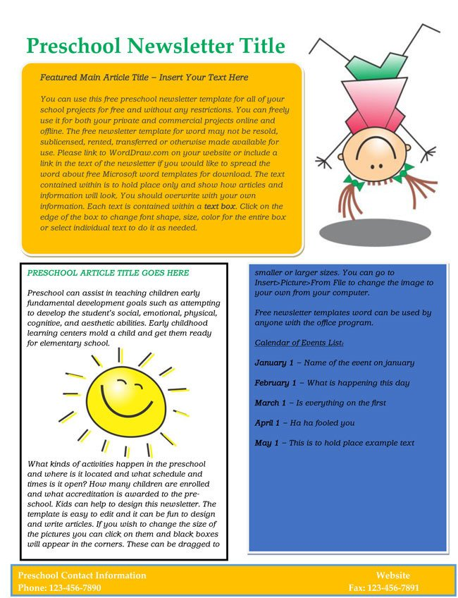 Free Preschool Newsletter Templates 16 Preschool Newsletter Templates Easily Editable and