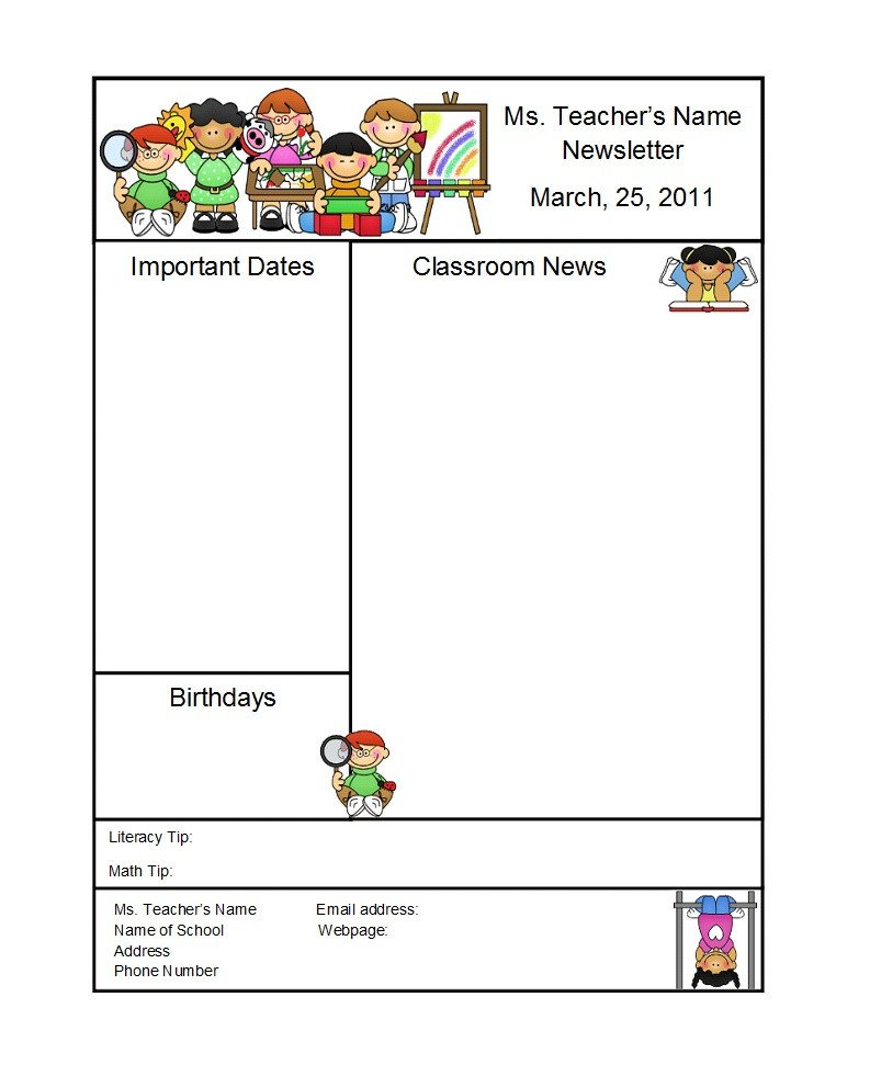 Free Preschool Newsletter Templates 50 Creative Preschool Newsletter Templates Tips