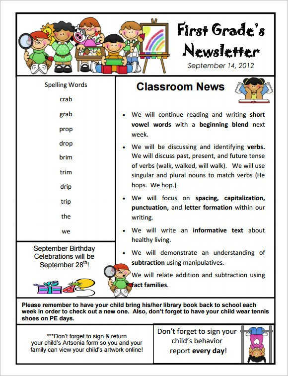 Free Preschool Newsletter Templates 9 Kindergarten Newsletter Templates Free Sample