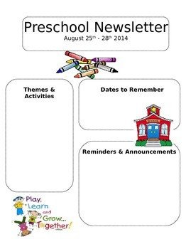 Free Preschool Newsletter Templates Editable Newsletter Template Preschool Daycare or