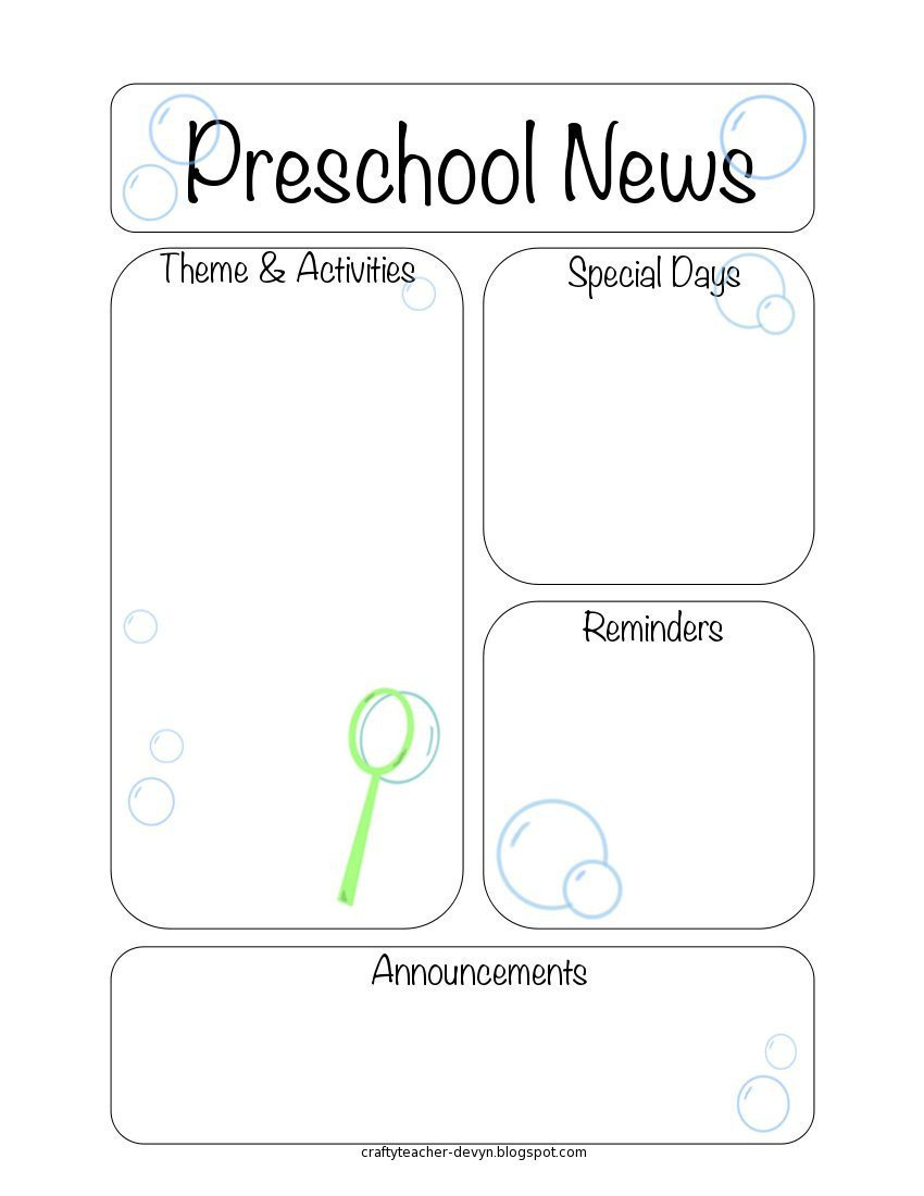 Free Preschool Newsletter Templates Newsletter Templates