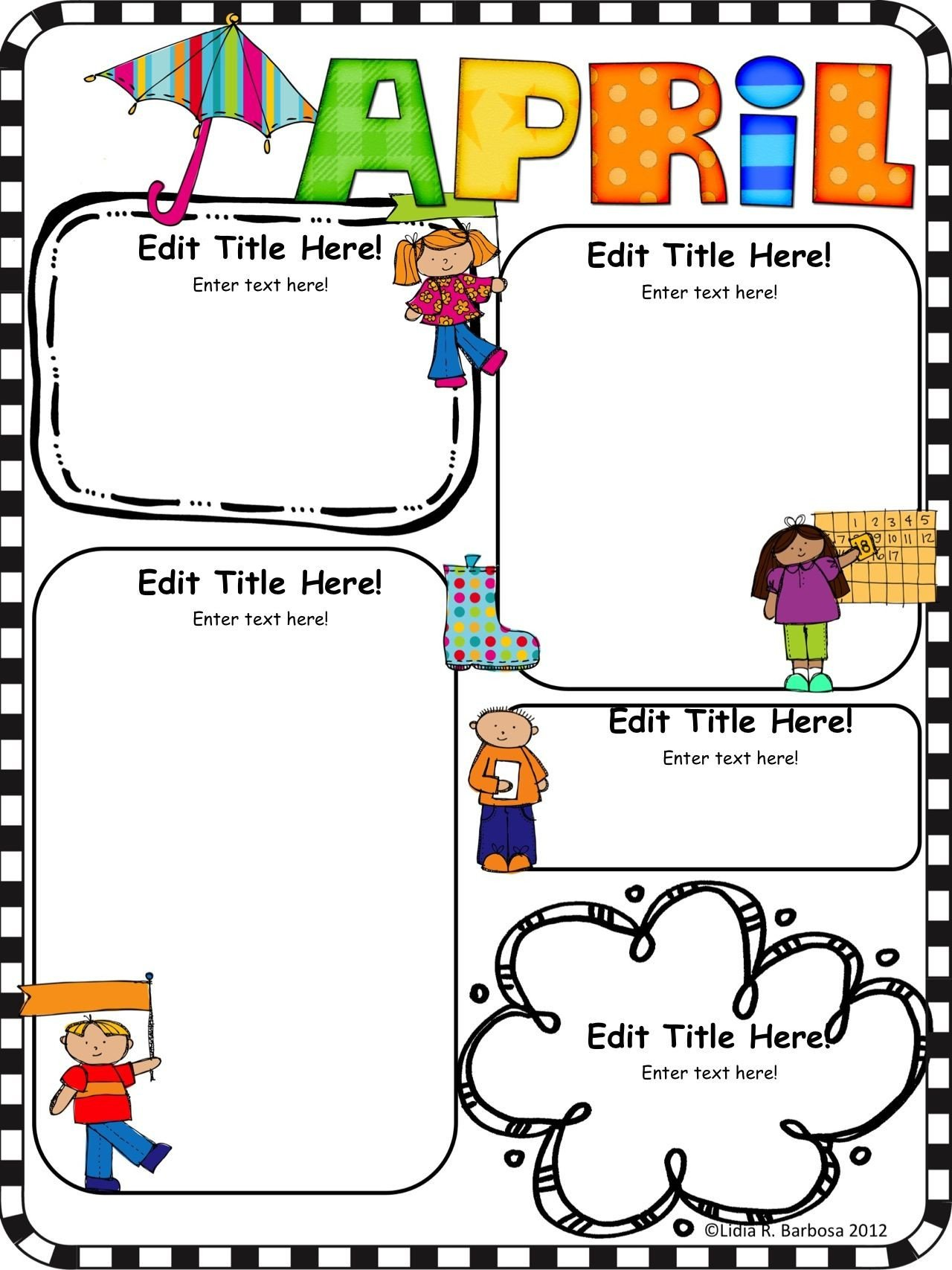 Free Preschool Newsletter Templates Pletely Editable Monthly Newsletter Templates English