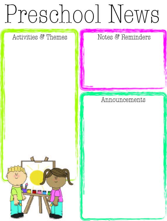 Free Preschool Newsletter Templates Preschool Bright Color Newsletter