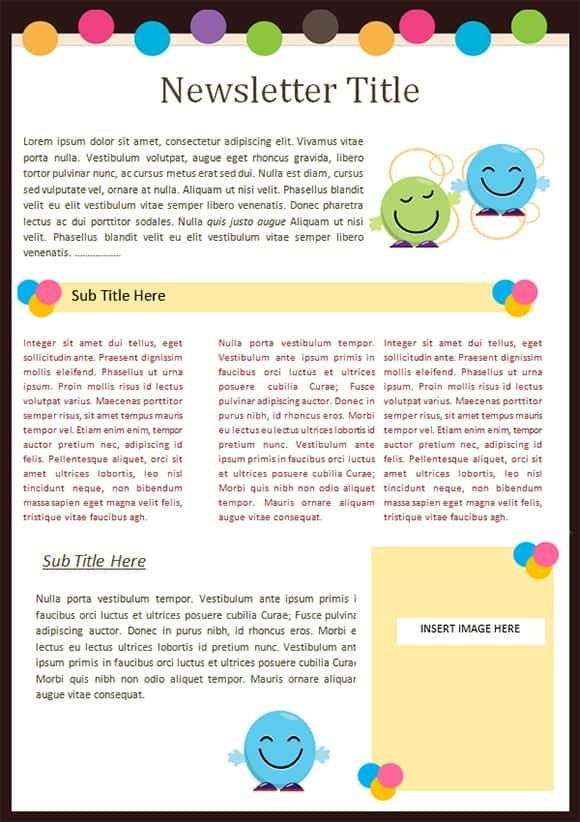 Free Preschool Newsletter Templates Sample Templates Free formats Excel Word
