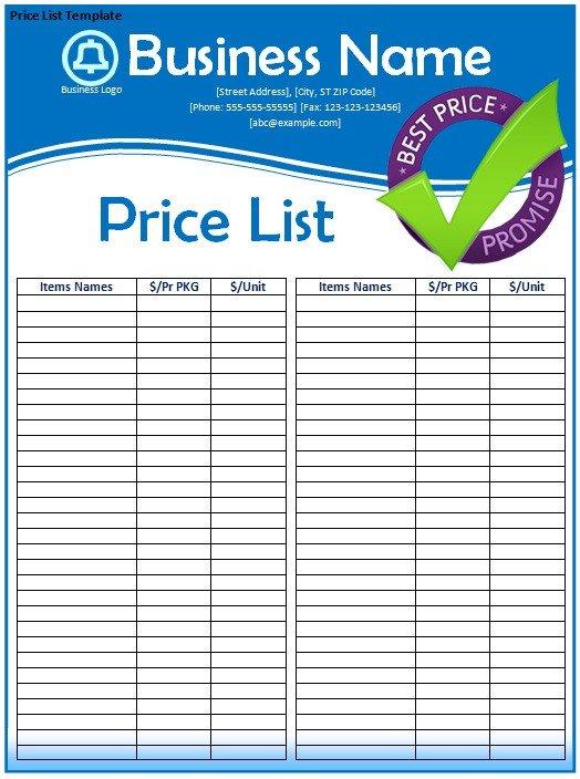 Free Price List Template Price List Template