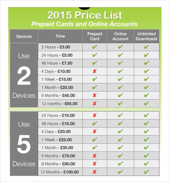 Free Price List Template Price Sheet 8 Documents In Pdf Word