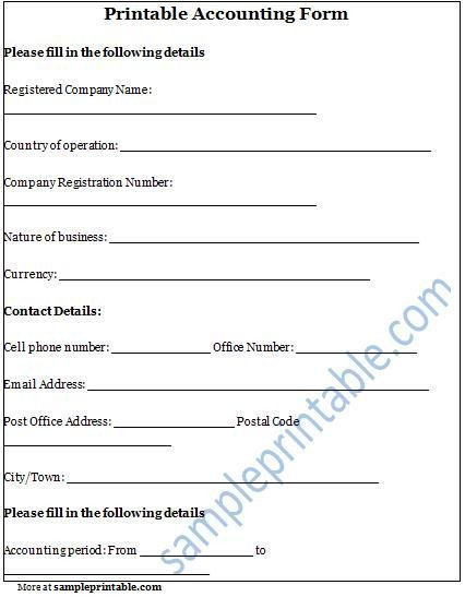 Free Printable Accounting forms Accounting form Printable Accounting form