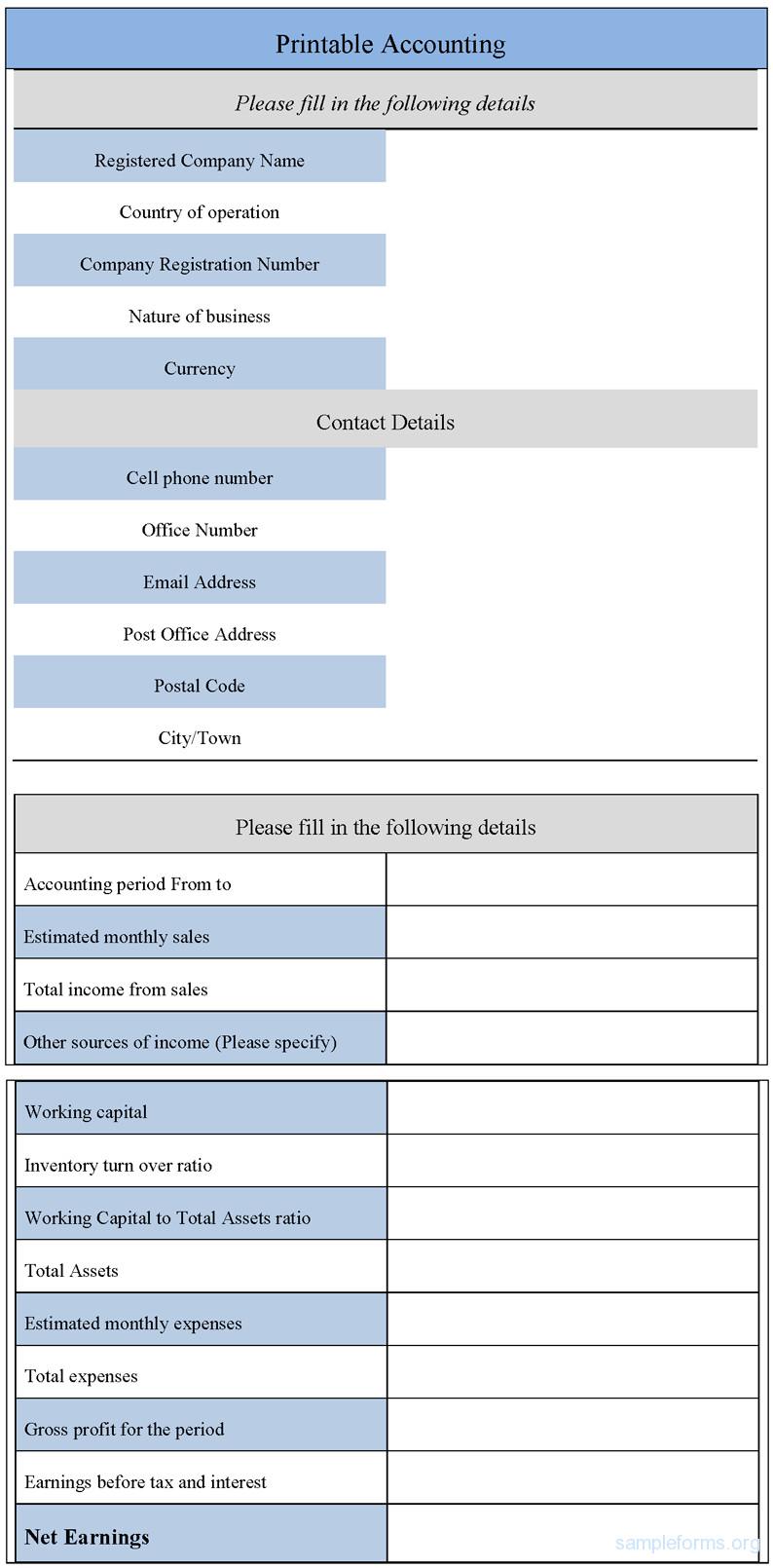 Free Printable Accounting forms Printable Accounting form Sample forms