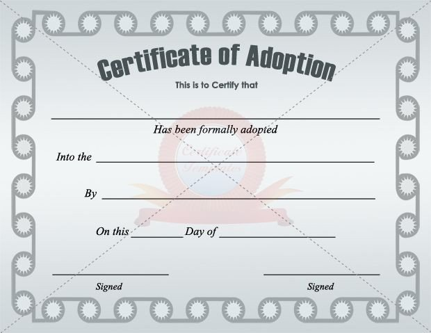 Free Printable Adoption Papers Adoption Certificate Template Certificate Templates