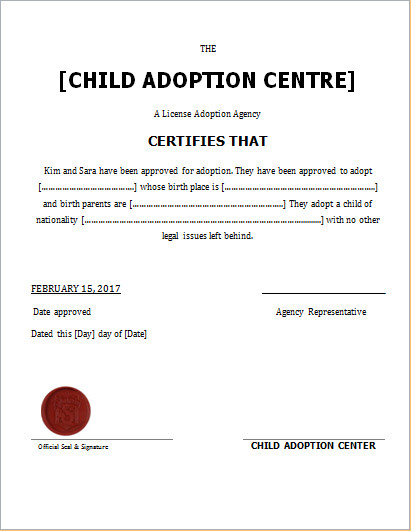 Free Printable Adoption Papers Child Adoption Certificate Template for Word