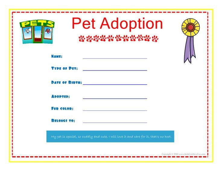 Free Printable Adoption Papers Pet Adoption Certificate for the Kids to Fill Out About