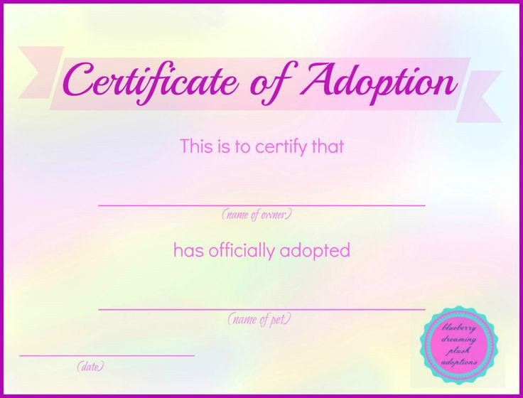 Free Printable Adoption Papers Printable Stuffed Animal Adoption Certificates – Blueberry