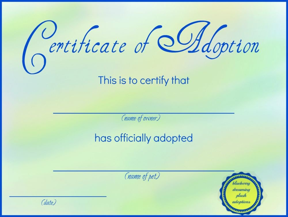 Free Printable Adoption Papers Printable Stuffed Animal Adoption Certificates