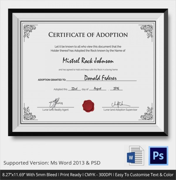 Free Printable Adoption Papers Sample Adoption Certificate Template 18 Documents In