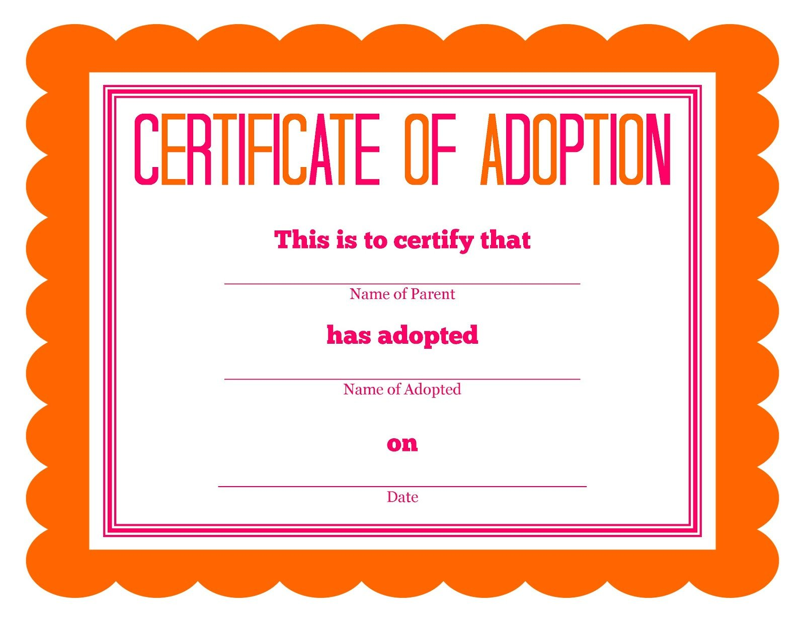 Free Printable Adoption Papers Stuffed Animal Adoption Certificate