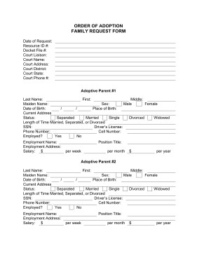 Free Printable Adoption Papers the order Of Adoption Family Request form is A Free