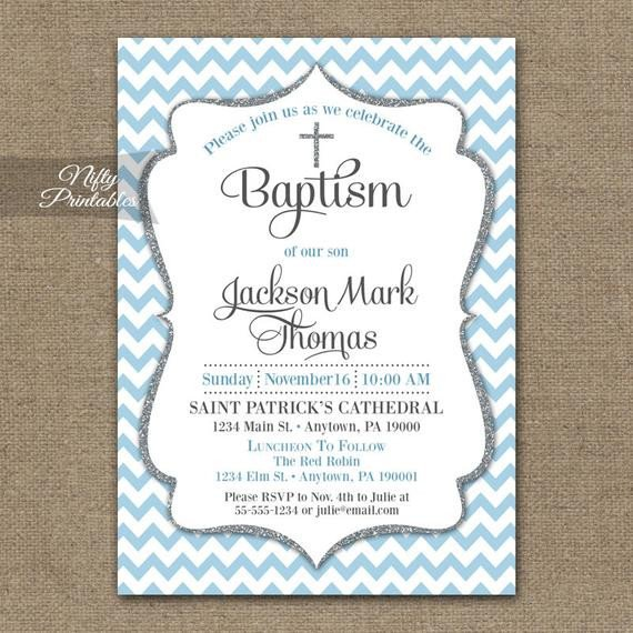 Free Printable Baptism Invitations Blue Baptism Invitations Printable Baby Blue Chevron Baptism
