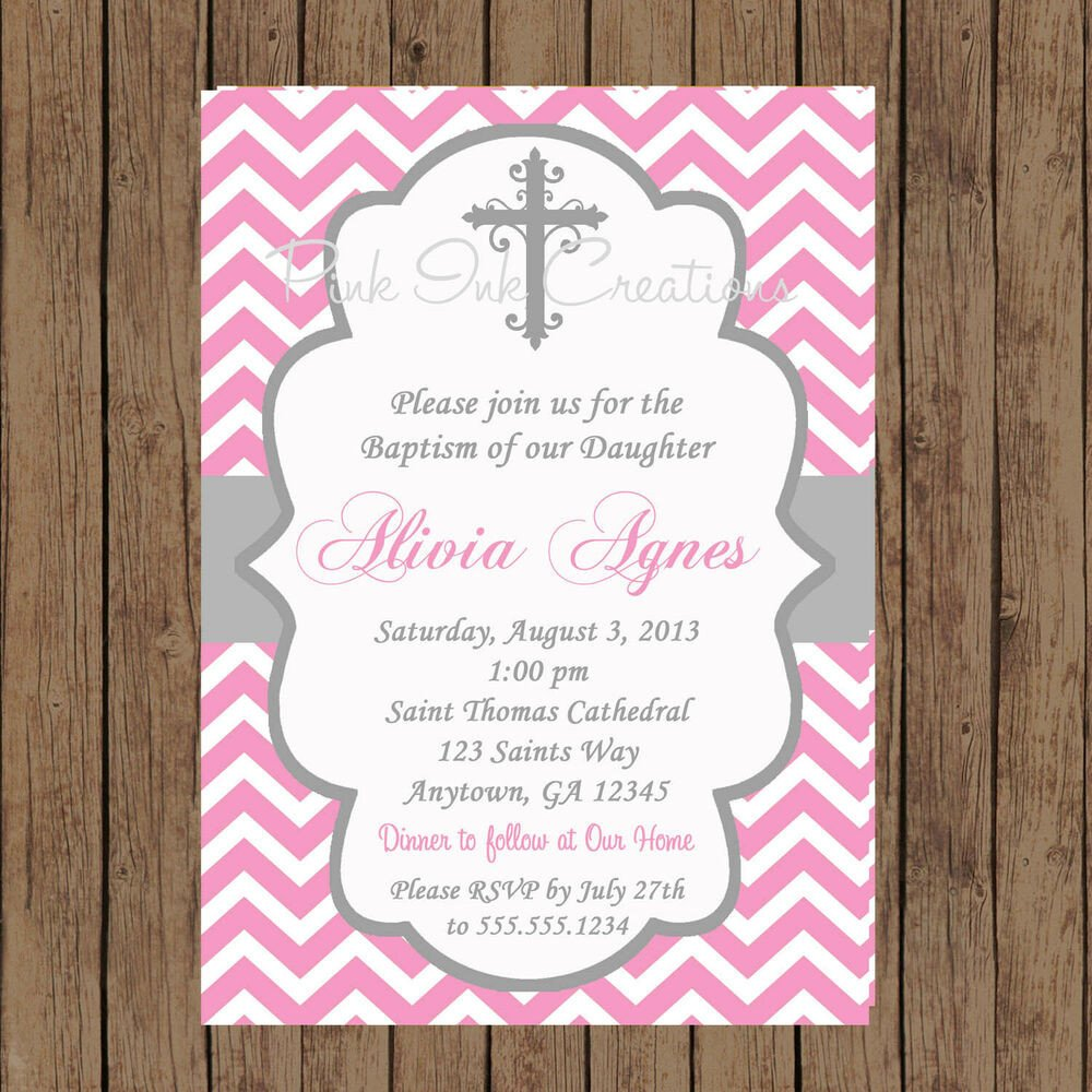 Free Printable Baptism Invitations Girls Baptism Invitation Chevron Baptism Invitation