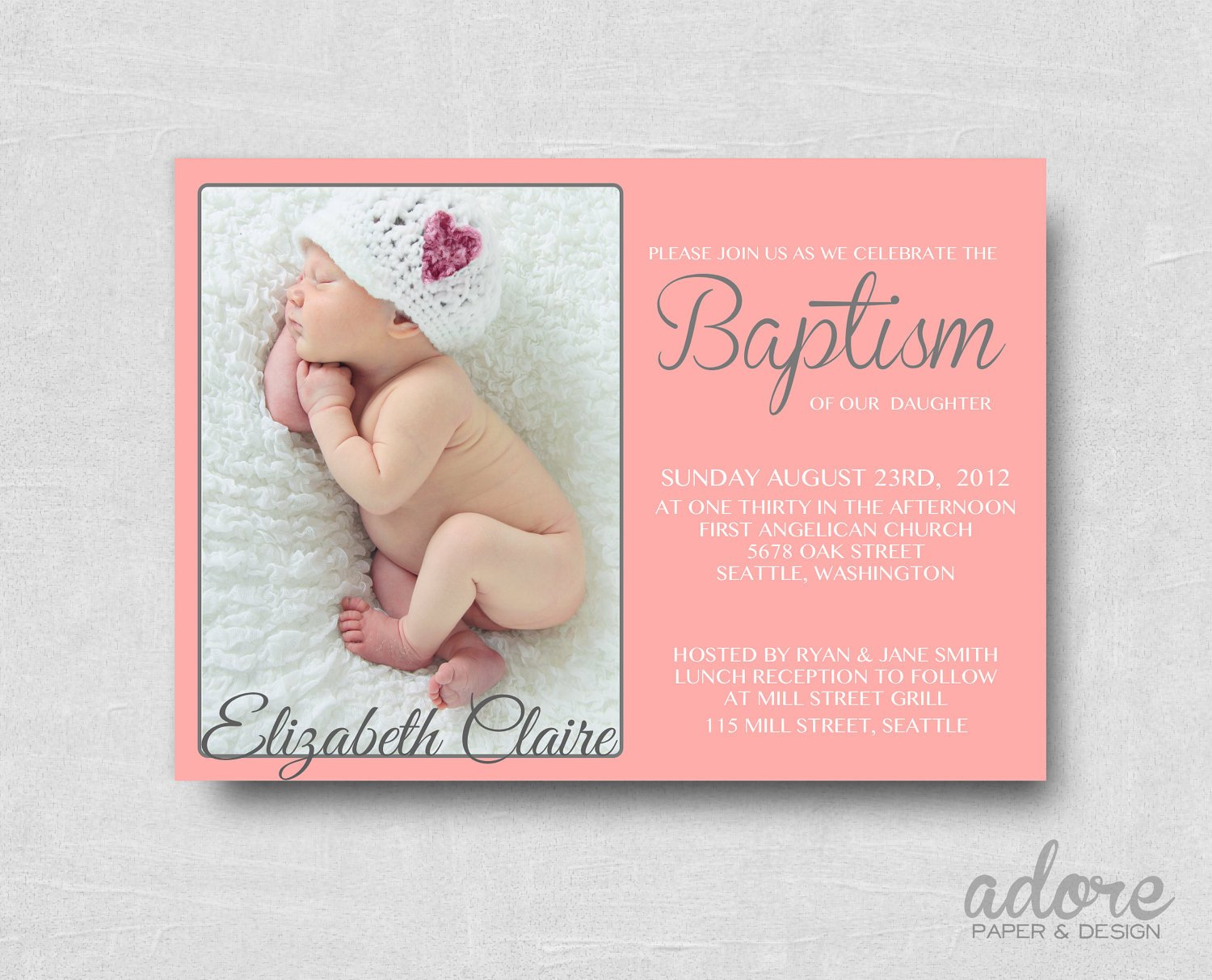 Free Printable Baptism Invitations Modern Coral Pink & Gray Printable Baptism Invitation