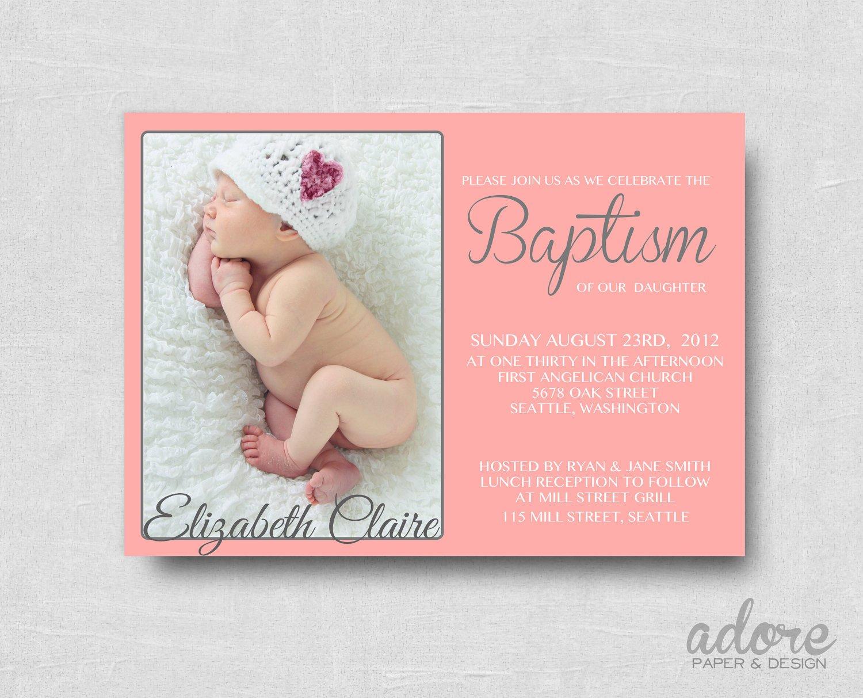 Free Printable Baptism Invitations Modern Coral Pink & Gray Printable Baptism Invitation