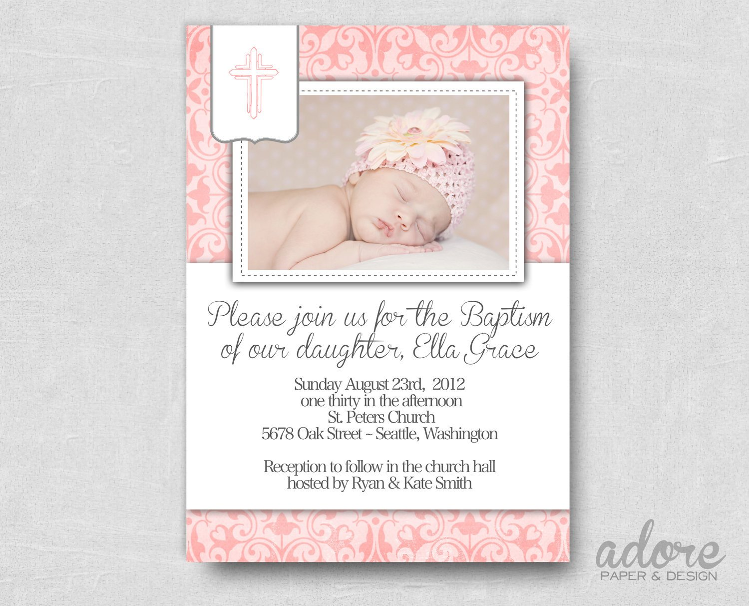 Free Printable Baptism Invitations Pink Damask Printable Baptism Invite Choose Your