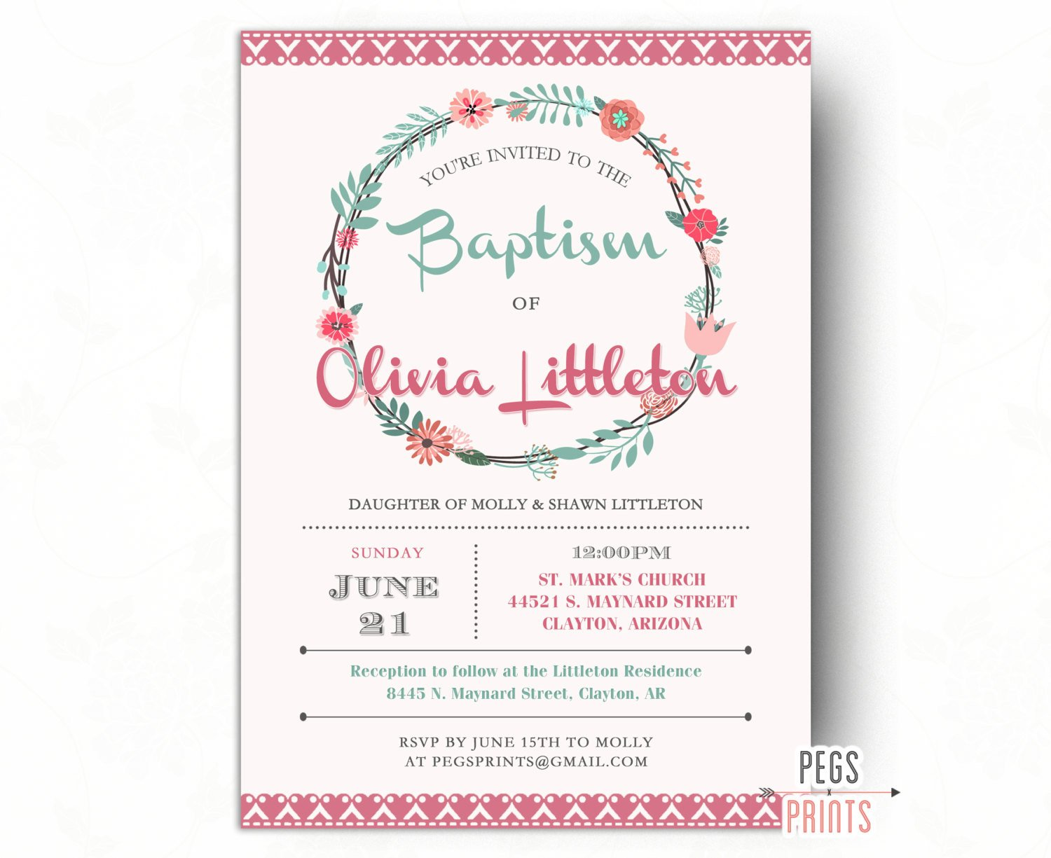Free Printable Baptism Invitations Printable Baptism Invitation Girl Girl Baptism Invitation