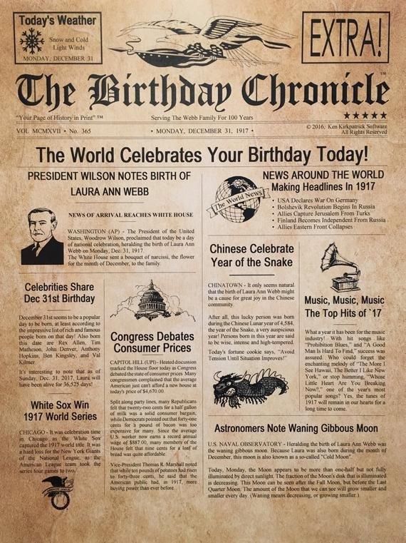 Free Printable Birthday Newspaper 100th Birthday Gift Personalized 8 5 X 11 Print