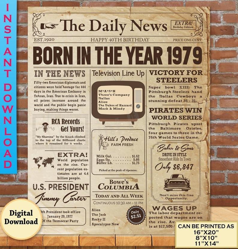 Free Printable Birthday Newspaper 1979 Birthday Newspaper Poster for 40th Birthday 1979
