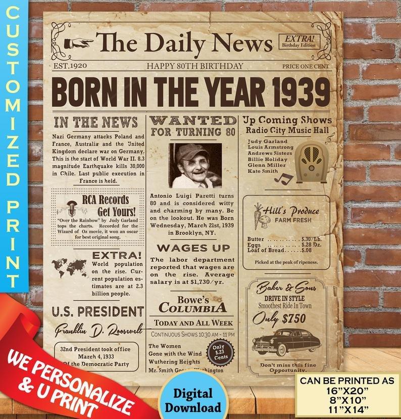 Free Printable Birthday Newspaper Back In 1939 Printable Poster Instant Digital Download