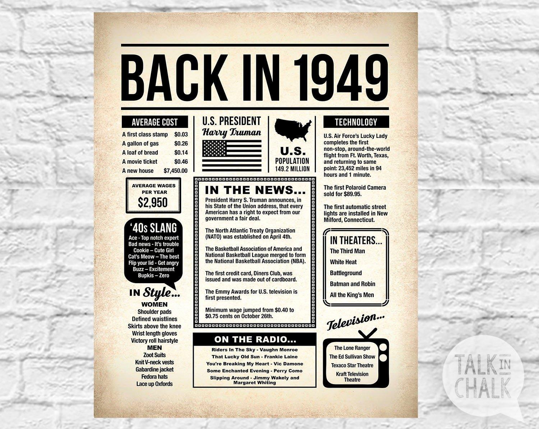 Free Printable Birthday Newspaper Back In 1949 Printable Newspaper Poster 1949 Digital