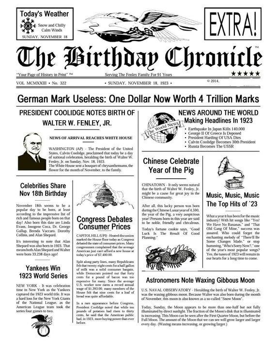 Free Printable Birthday Newspaper Birthday Chronicle Newspaper Print What Happened by